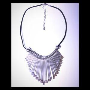 Jewelry - Tribal Silver Metal Paddle Bib Statement Necklace